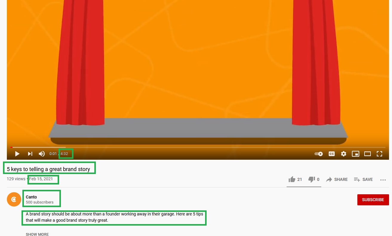 A YouTube video with key elements boxed.