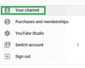 The menu in YouTube profiles.