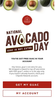 E-Mail von Chipotle zum Nationalen Tag der Avocado mit einem Handlungsaufruf, der sagt: 'Her mit meiner Guacamole'.