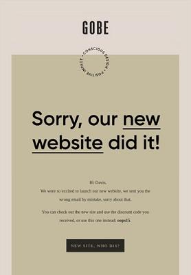 Eine E-Mail von Gobe, die besagt: 'Tut uns leid, unsere neue Webseite war schuld'.