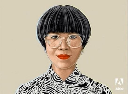 Illustration einer Frau mit einem trendigen Haarschnitt, leuchtend rotem Lippenstift und einer durchsichtigen Kunststoffbrille.