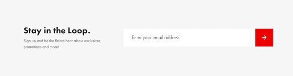 Minimalistisches E-Mail-Anmeldeformular mit nur einem Feld für die E-Mail.