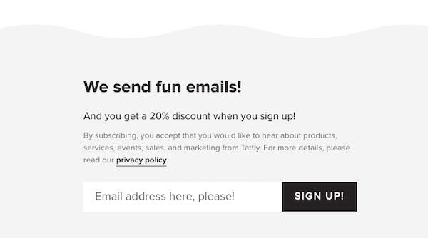 E-Mail-Anmeldeformular mit dem Einleitungstext: Unsere E-Mails machen Spaß.