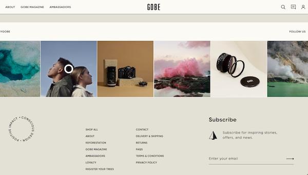 Screenshot der Webseite von Gobe mit dezentem E-Mail-Anmeldeformular in der Fußzeile.