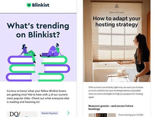 E-Mail-Newsletter von Blinkist und AirBnB zu einem einzigen Thema.