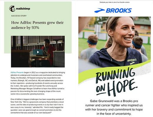 E-Mail-Newsletter mit dem Erfahrungsbericht eines Mailchimp-Kunden und eines Markenbotschafters von Brooks.