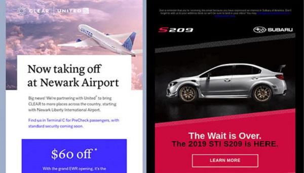 E-Mails von United und Subaru, die einen neuen Service am Flughafen bzw. ein neues Automodell vorstellen.