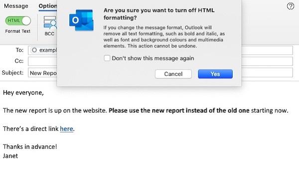 Screenshot eines E-Mail-Entwurfs in Outlook mit der Option, HTML zugunsten von reinem Text zu deaktivieren.