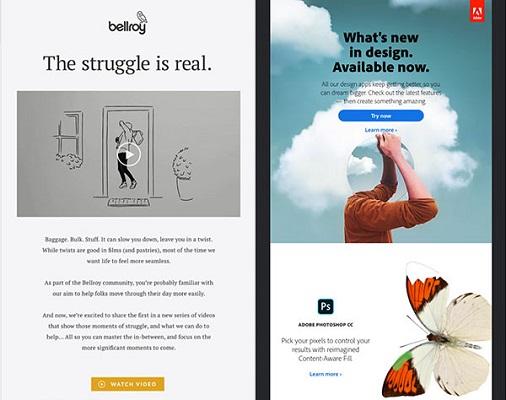 HTML-lastige Beispiele für E-Mails von Bellroy und Adobe Creative Cloud.