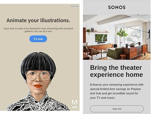 HTML-E-Mails von Adobe und Sonos, in denen Bilder und unterschiedliche Schriftgrößen verwendet werden.