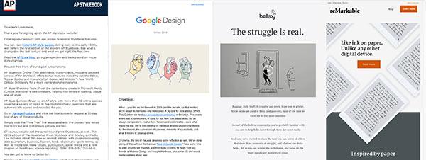 Screenshots von vier E-Mails, die die Bandbreite der Möglichkeiten von HTML zeigen.