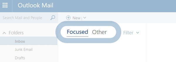 Screenshot der Outlook-Funktion Fokussierter Posteingang, die Marketing-E-Mails in eine separate Ansicht einsortiert.