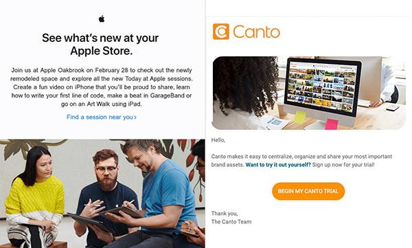 E-Mails von Apple und Canto, die ein ausgewogenes Verhältnis von Text und visuellen Elementen demonstrieren.