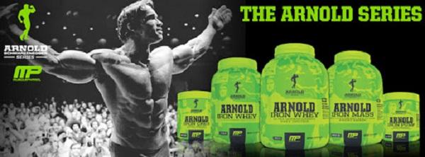 Die Produkte der Arnold Schwarzenegger Produktlinie für Nahrungsergänzungsmittel.