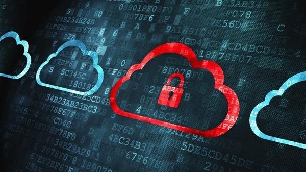 Ein rotes Wolkensymbol mit einem Vorhängeschloss und Buchstaben und Zahlen im Hintergrund.