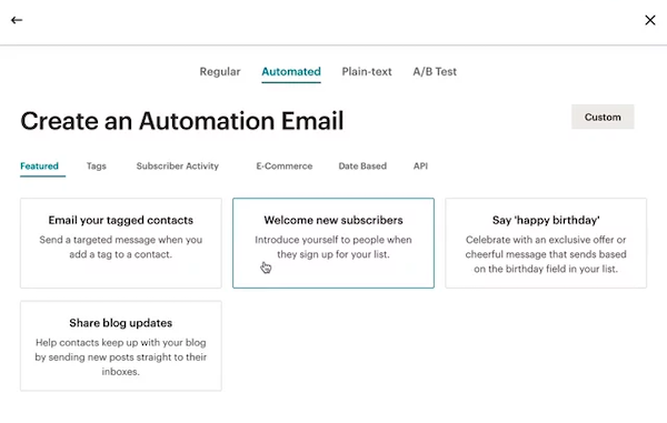 Screenshot of automation options in Mailchimp's email marketing software.