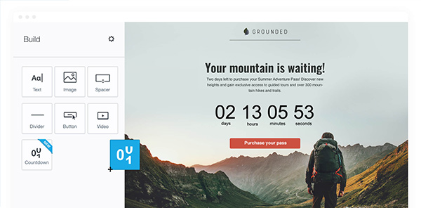 Screenshot from Campaign Monitor's email builder showing countdown clock element.