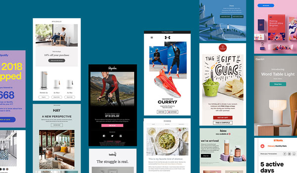 Collage of glossy, HTML-heavy email designs from major brands.