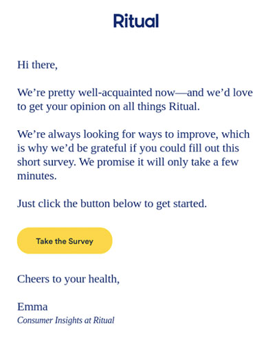 Screenshot of an email from Ritual with a bright yellow Take Survey CTA.