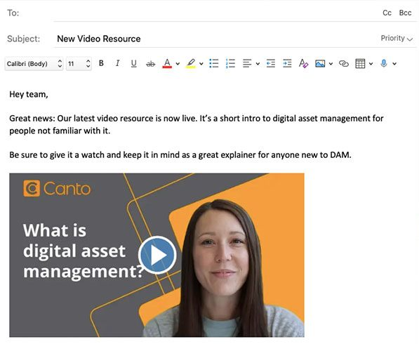 Email with video preview image embedded in-line.