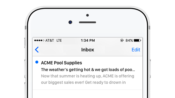 Email preview on iPhone screen that cuts the L off the word pool in a subject line.