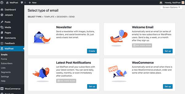 Screenshot of menu options in MailPost's email WordPress email plugin.
