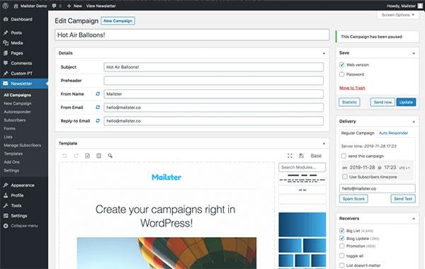 Screenshot of Mailster's WordPress email plugin.
