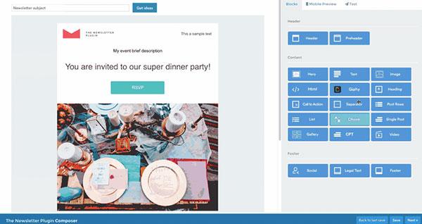 Screenshot of Newsletter's email builder in WordPress.