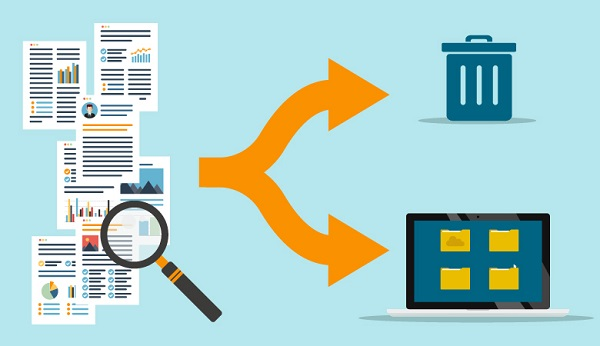 Darstellung, wie Dateien durchsucht und entweder einsortiert oder gelöscht werden.