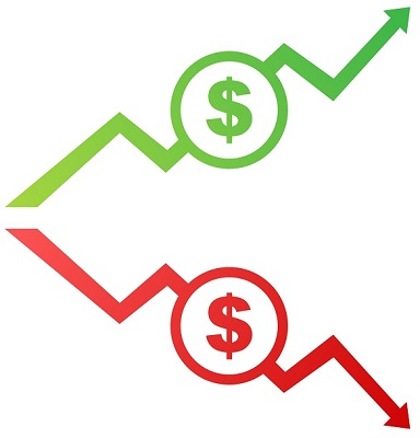 Finanzielle Trendkurven, die in verschiedene Richtungen verlaufen.