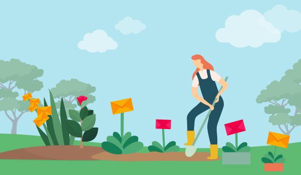 Illustration einer grabenden Frau im Garten, die E-Mail-Kontakte züchtet.
