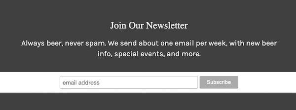 Screenshot von einem E-Mail-Anmeldeformular mit Informationen zu Inhalt und Kadenz.