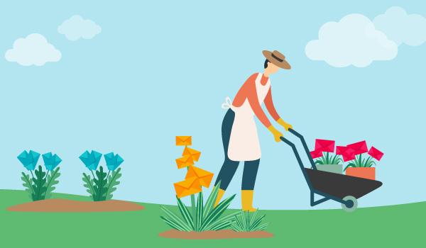 Illustration eines Mannes im Garten, der die Pflanzen, also die E-Mail-Kontakte, in Segmente unterteilt.