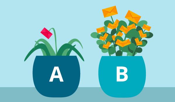 Illustration zweier E-Mail-Pflanzen in Töpfen, eine davon verwelkt, die andere blühend.