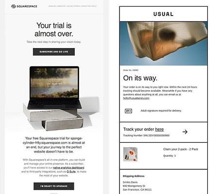 Automatisierte E-Mails, die das Ende der kostenlosen Testphase bzw. den Versand der Bestellung ankündigen.
