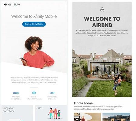 Willkommens-E-Mails von Xfinity und AirBnB.