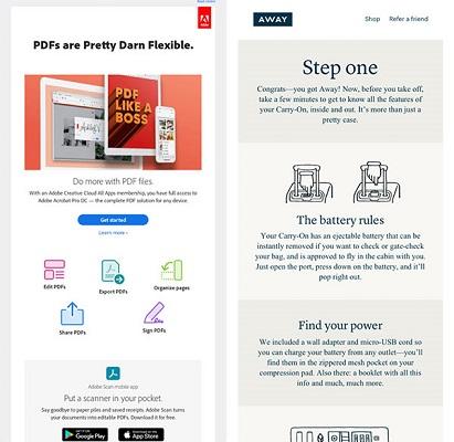 E-Mails von Adobe und Away mit Hinweisen zur Verwendung ihrer Produkte.