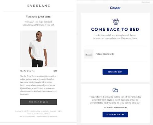 E-Mails von Everlane und Casper zu unvollständigen Einkäufen.