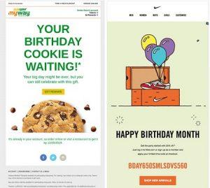 Geburtstags-E-Mails von Subway und Nike.