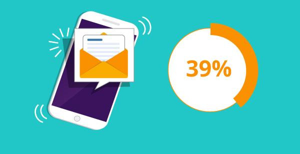 Darstellung einer E-Mail auf einem Mobiltelefon.