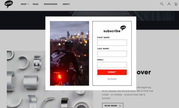 Screenshot der Webseite von Knog mit einem Popup-Formular für die E-Mail-Anmeldung.