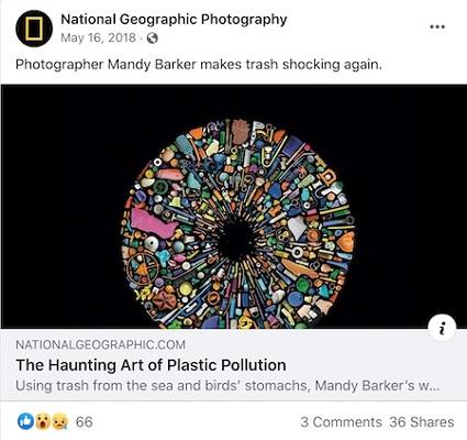 Ein Facebook-Post von National Geographic Photography mit Kunstwerken zum Thema Umweltverschmutzung durch Kunststoffe.