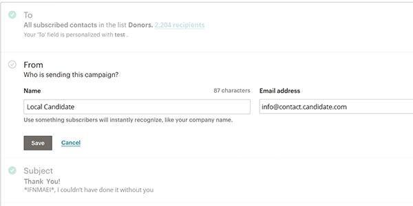 Menü zum Bearbeiten des Absenderfelds in einem Programm für E-Mail-Marketing.