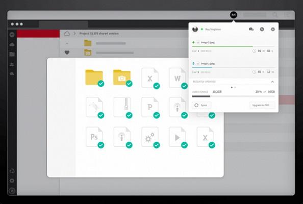Ein Screenshot der Benutzeroberfläche von MEGA.