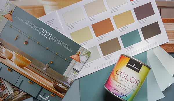 Printed marketing collateral from the paint company Benjamin Moore.