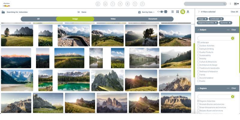 IDM Südtirol Screenshot Mediaportal für interne Nutzer inkl. Filterfunktionen