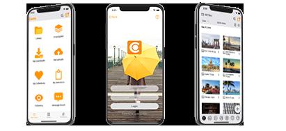 Screenshot der Canto iOS Mobilgeräte-App im Einsatz.