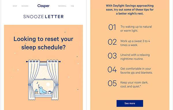 Screenshot einer E-Mail von Casper, die zeigt, wie Sie Ihren Schlafrhythmus zurücksetzen können.