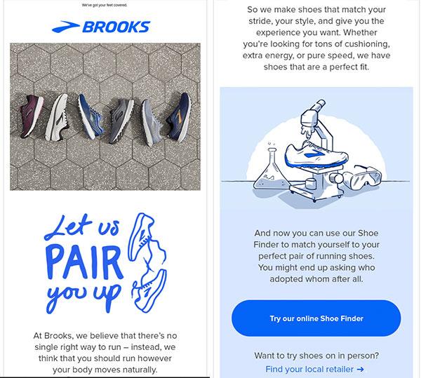 Screenshot einer E-Mail von Brooks, in der das Unternehmen für seine Online-Schuhsuche wirbt.