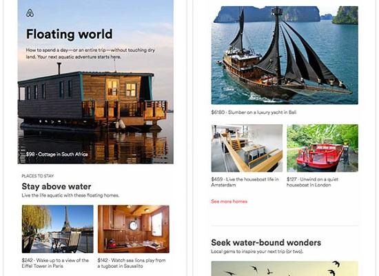 Screenshot einer Kontaktpflege-E-Mail von Airbnb, die Hausboote und Schiffe zeigt.